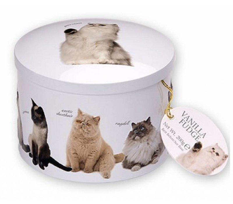 Cat round tin fudge 200g 12st