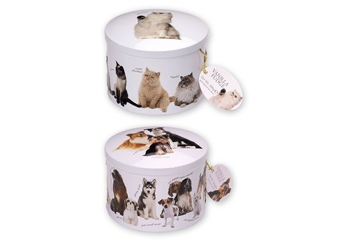 Gardiners of Scotland Dog & cat assortie round tin fudge 200g 12st