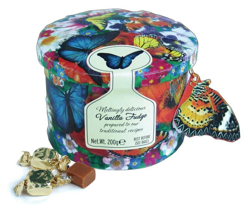 Butterfly tin fudge 200g 12st
