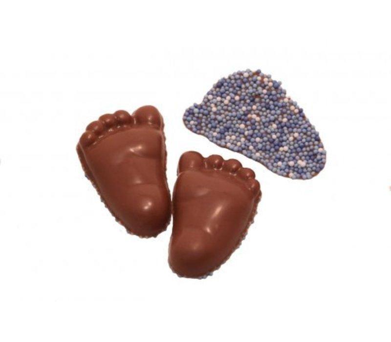 Baby voetjes choc. blauw 8g 2,5kg