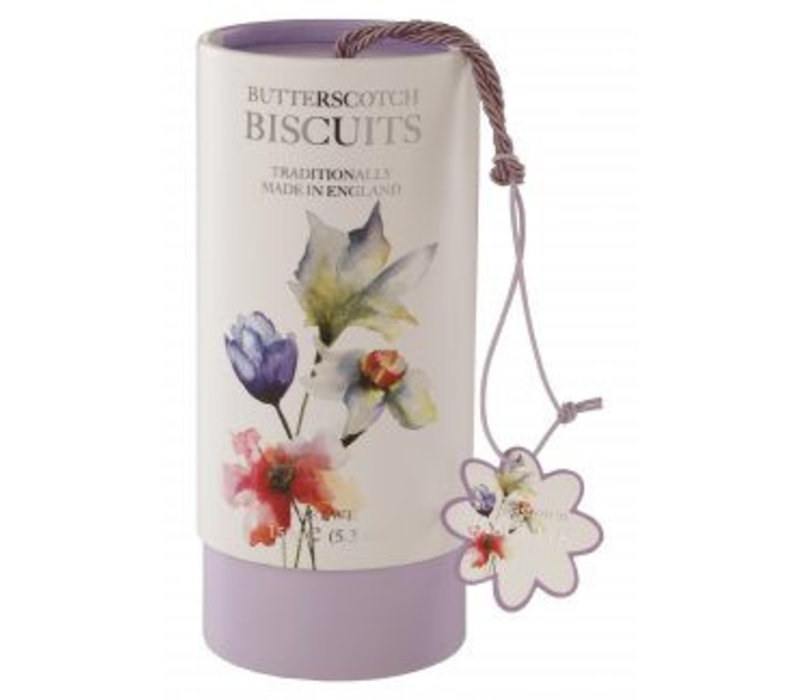 Floral Butterscotch biscuits tube 150g 12st