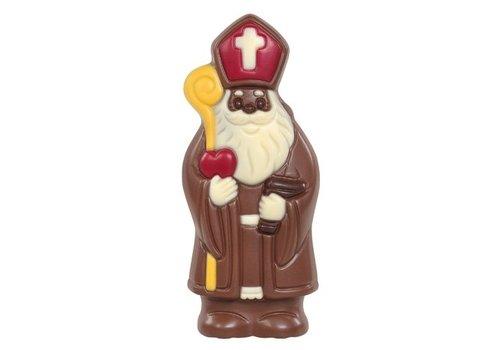 Lachende Sint deco rood/geel melk 20cm 150g 6st