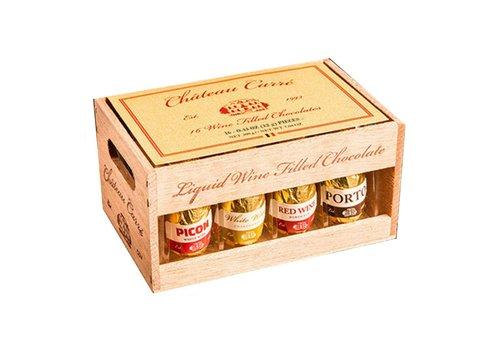 Chauteau Carre wijnpralines houten kratje 200g 12st