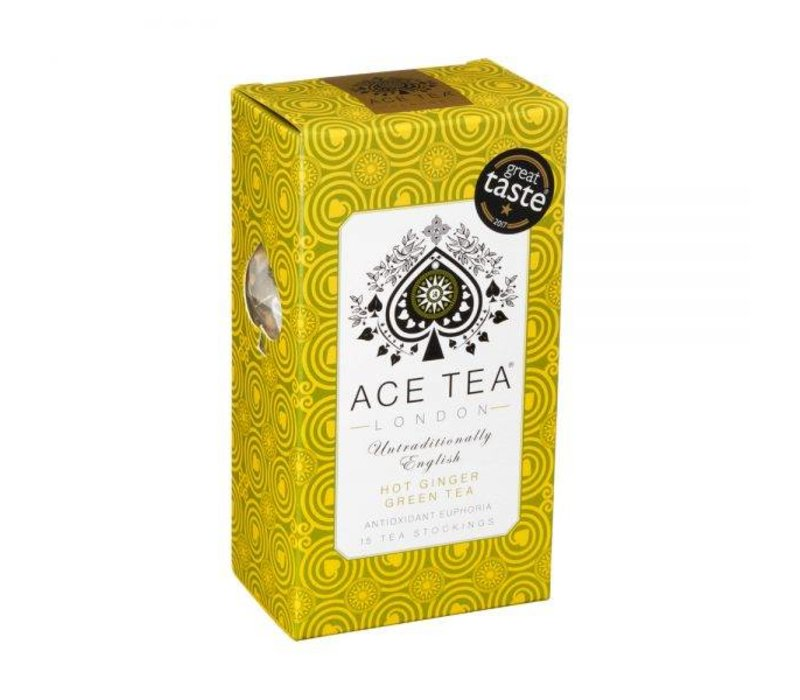 Ace Tea Hot Ginger Green Tea Carton - 15 Tea Stockings 10st