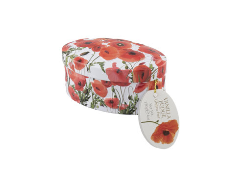 Gardiners Poppy Flower fudge tin 120g 18st New Design