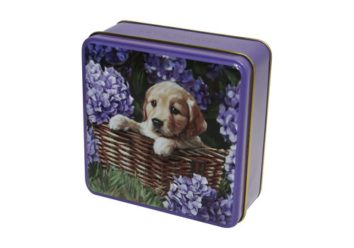 Embossed Puppy in a BasketTin 100g 12st