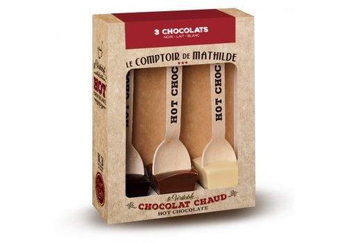 Le Comptoir de Mathilde Hot Chocolate 3 Chocolats (Noir - Lait - Blanc) 6st