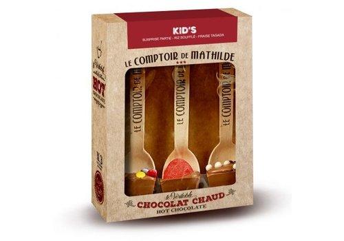 Le Comptoir de Mathilde Hot Chocolate KID'S (Lait Surprise Partie, Lait Riz soufflé, Lait Fraise Tagada) 6st