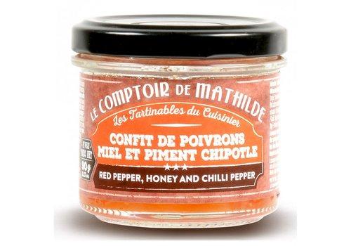 Le Comptoir de Mathilde Confit de Poivrons au Miel et piment chipotle 90g 12st