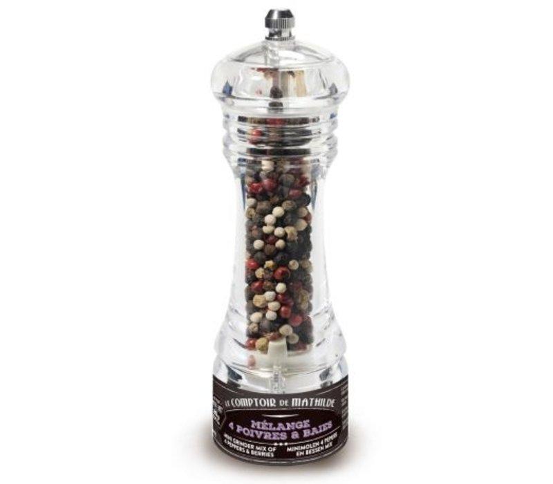 Mini-moulins poivre du monde Mélange 4 poivres et Baies 20g 12st