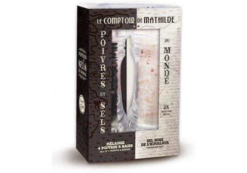 Le Comptoir de Mathilde Coffret Mini Moulin Sel Rose de l'Himalaya 50g & Mélange 4 Poivres & Baies 20g 6st