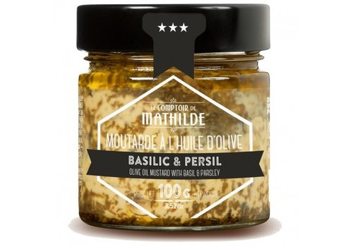 Le Comptoir de Mathilde Moutarde Basilic & Persil 100g 12st