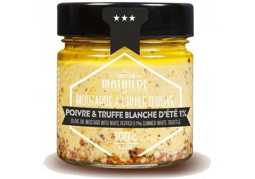 Le Comptoir de Mathilde Moutarde Poivre blanc & Truffe blanche 100g 12st