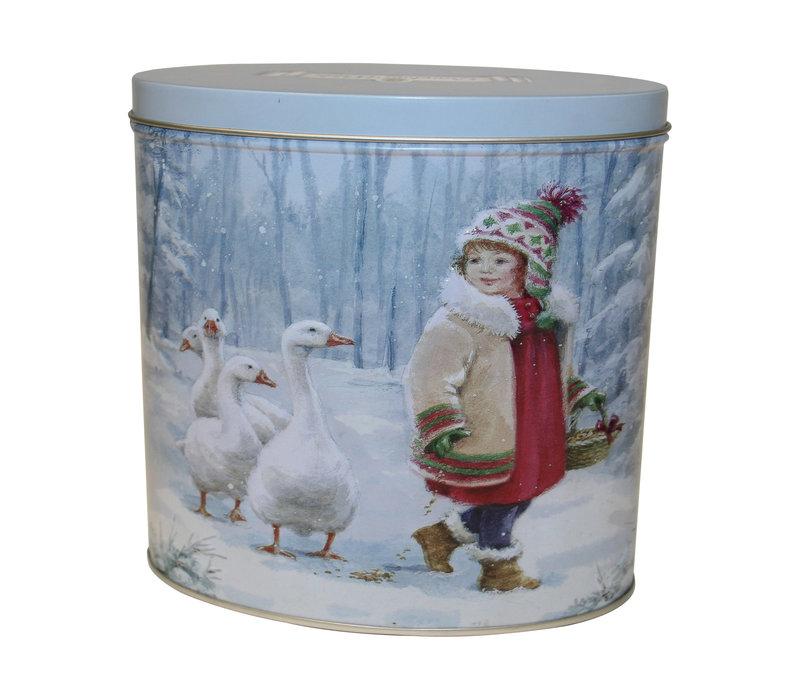 Embossed Oval Girl & Goose Tin 300g 6st