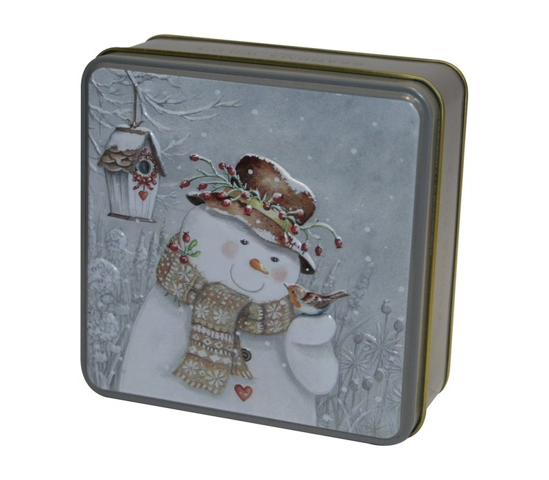 Embossed Snowman with Robin Tin 100g 12st