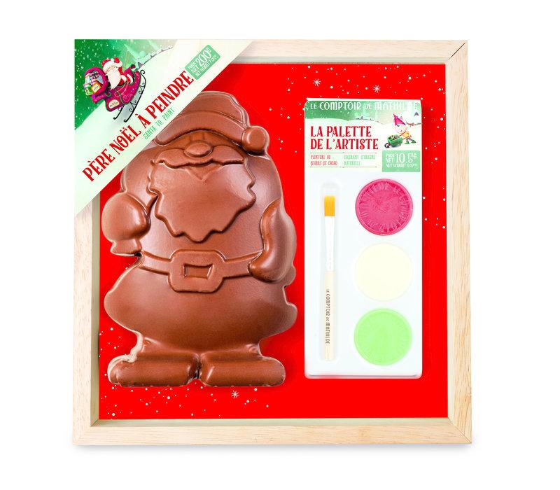 Noel Père Noel chocolat lait à peindre + palette de peinture 200g 4st