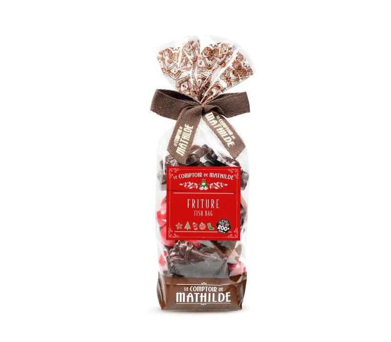 Noel Friture de Noel 2 chocolats et perles petillantes 200g 12st