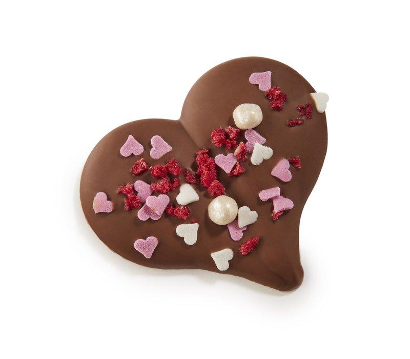 """Hart melk met """"Valentijn"""" confetti 10g 1,1kg"""