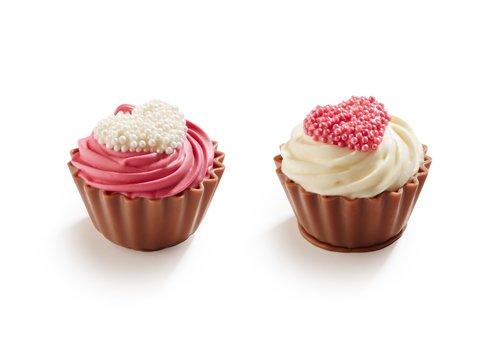 Liefdes cupcakes wit/fuchsia ass 20g 1kg