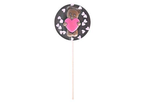 Le Comptoir de Mathilde Sucette noir ourson Cœurs roses 50g 12st