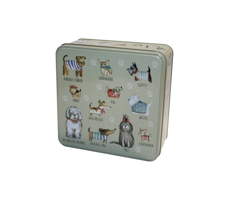 Embossed Dog in Jumpers Tin 160g 6st
