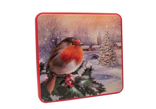Grandma Wild's Embossed Robin in a Winter Village Tin 160g 6st NIEUW