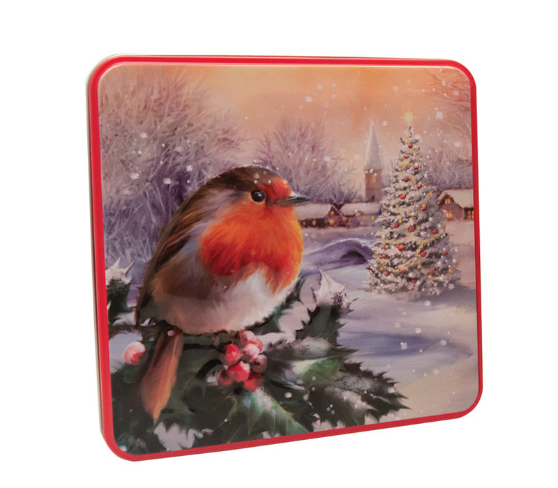 Embossed Robin in a Winter Village Tin 160g 6st NIEUW