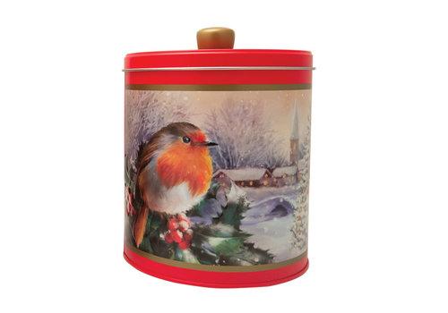 Grandma Wild's Embossed Robin in a Winter Village Round Tin 300g 6st NIEUW