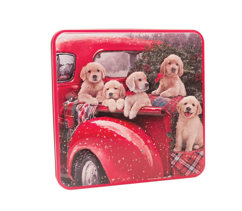 Embossed Puppies in a Van Tin 160g 6st NIEUW