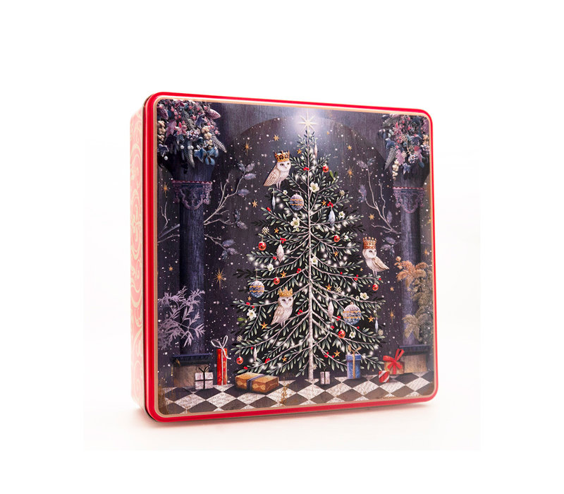 Embossed Decorated Christmas Tree Tin 400g 6st