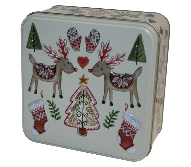 Embossed Two Festive Reindeers Tin 160g 6st