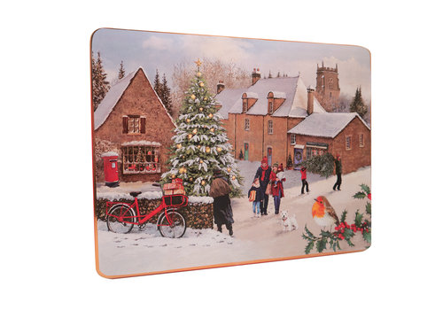Grandma Wild's Embossed Traditional Christmas Village Large Tin 800g 6st NIEUW