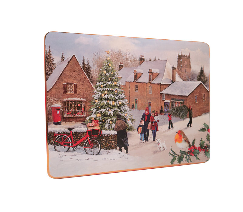Embossed Traditional Christmas Village Large Tin 800g 6st NIEUW
