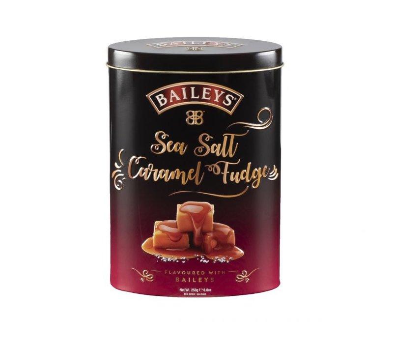 Baileys Sea Salt & Caramal fudge tins 250g 12bl. NIEUW