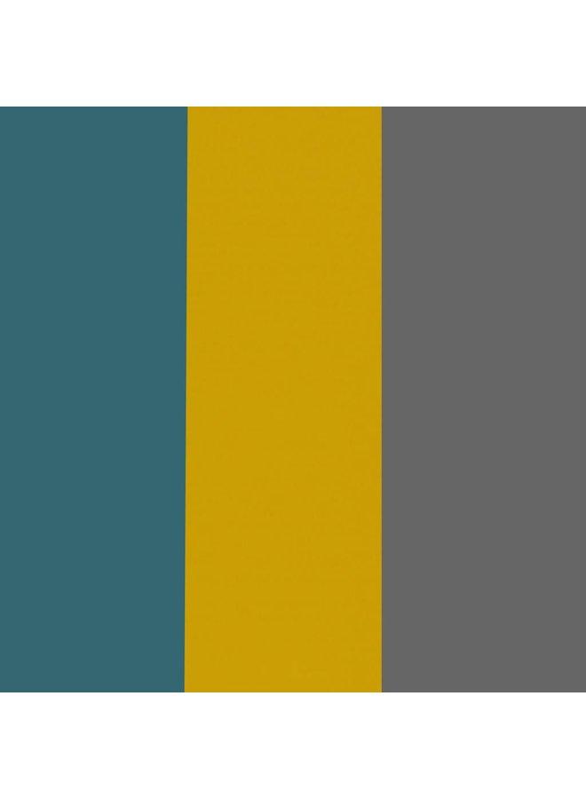 Muursticker triangle mosterd, petrol en grijs
