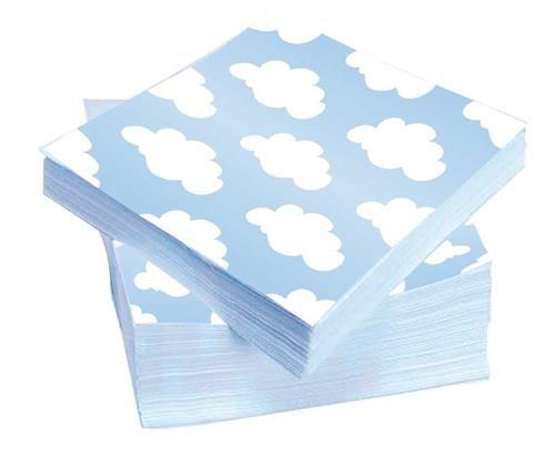 Blauwe servetten met wolkjes