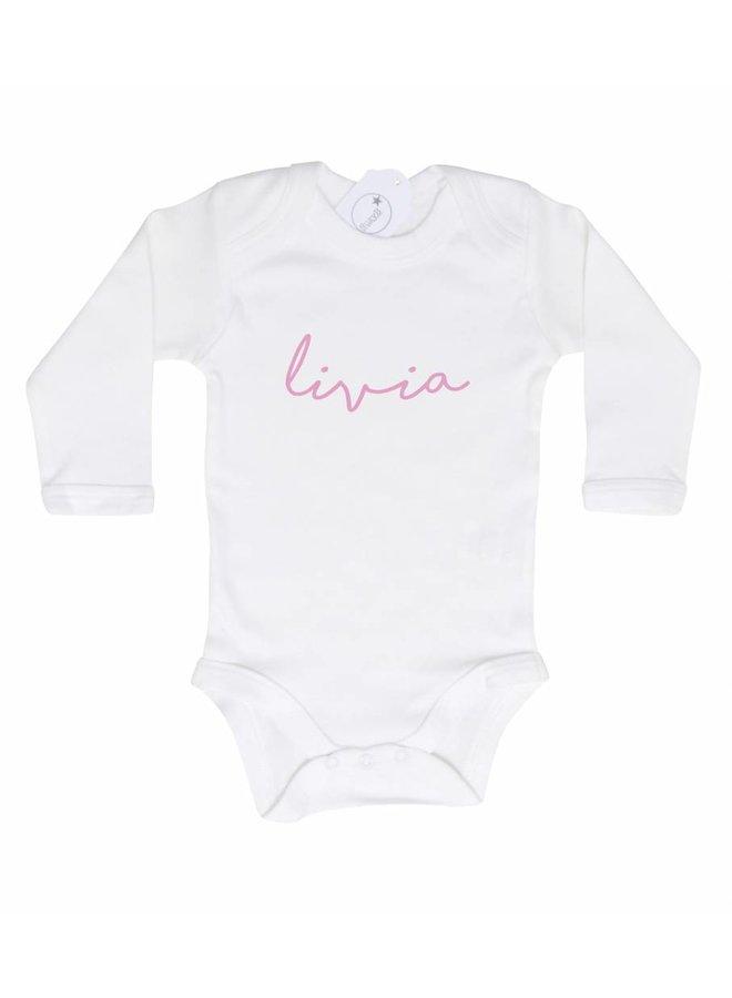 Romper met naam wit Livia