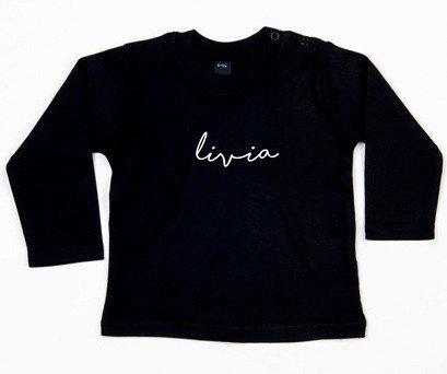 SuzyB Zwart shirt met naam Livia