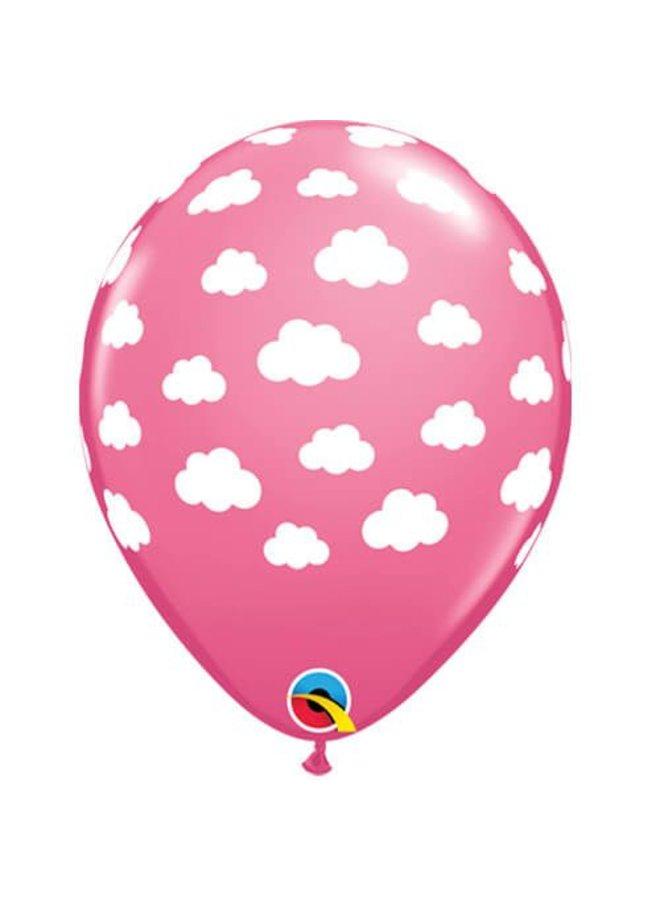 Roze ballonnen met wolkjes 6st