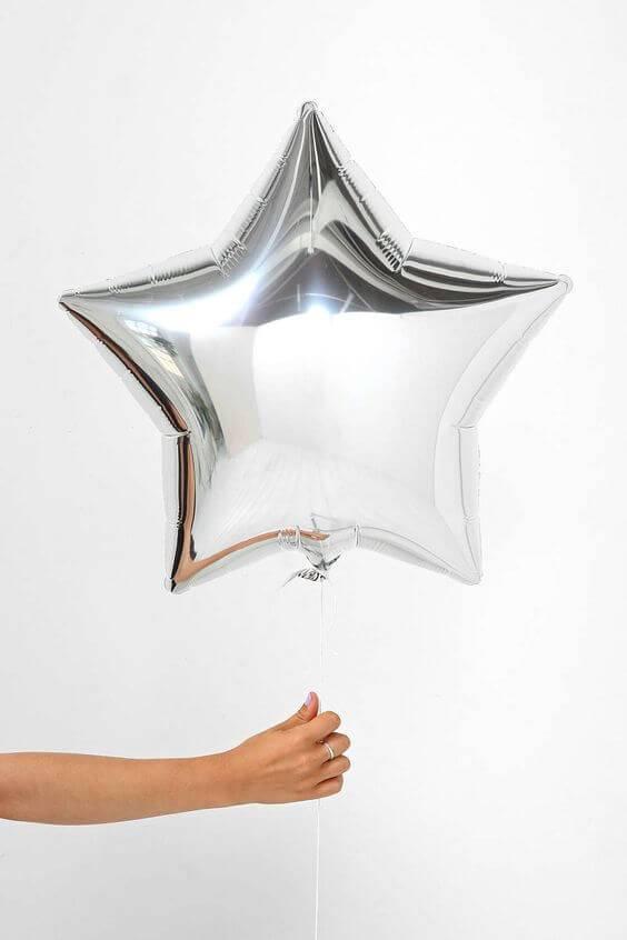 Ballon ster roze  zilver