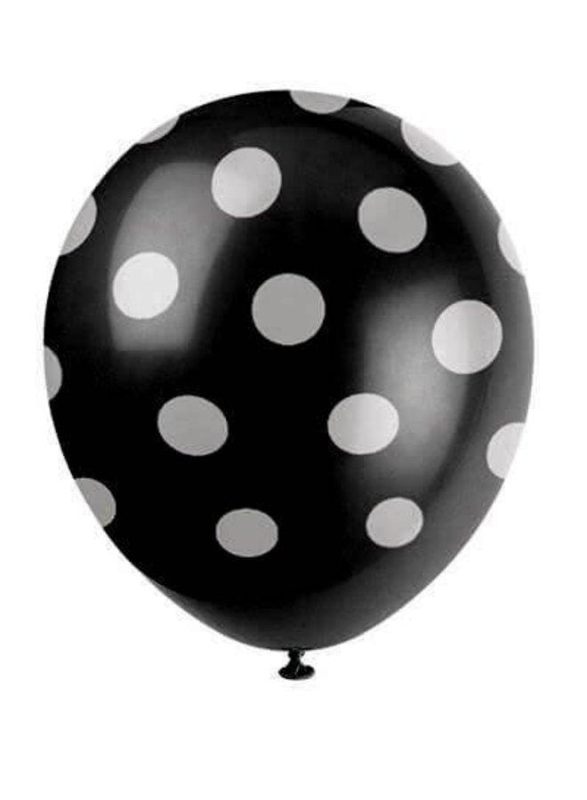 Ballonnen zwart met witte stippen 6x