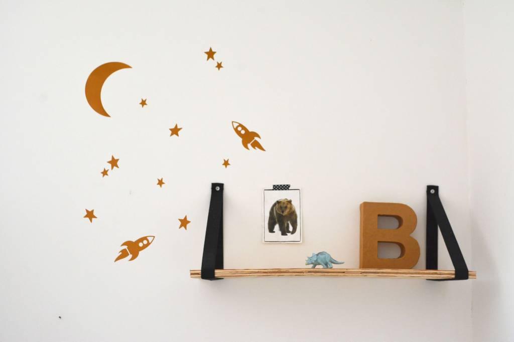 SuzyB Muursticker Maan en sterren (raketten)