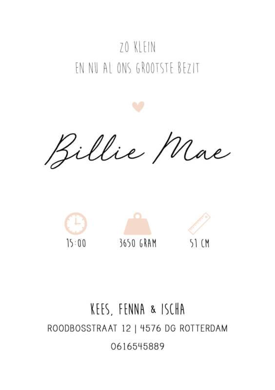 Geboortekaartje Billie Mae