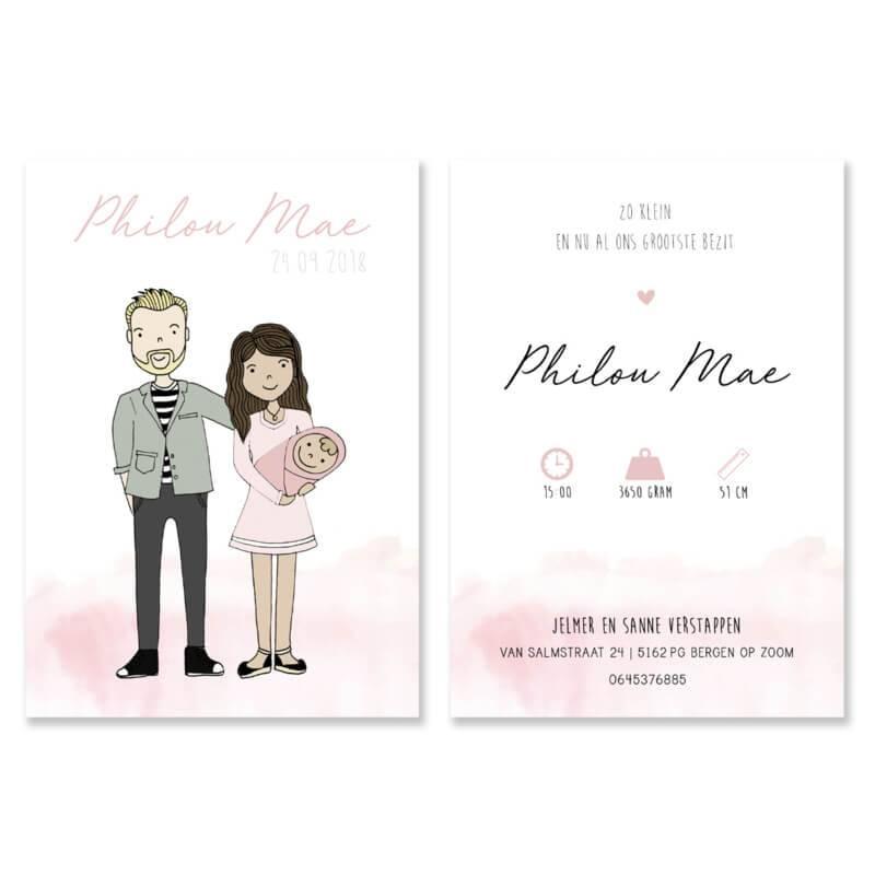 Geboortekaartje Philou Mae