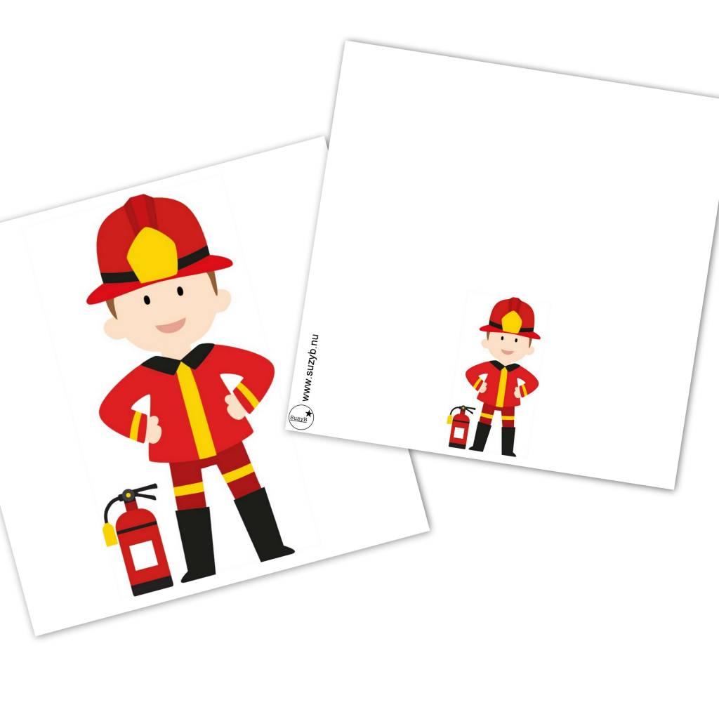 Traktatie kaartjes brandweer 10x