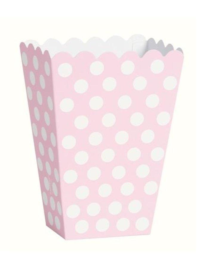 Traktatiebakjes  roze met witte stippen 8x