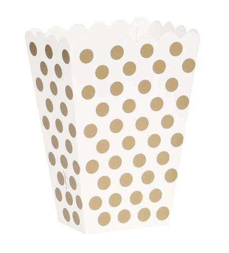 Traktatiebakjes  wit met gouden stippen 8x