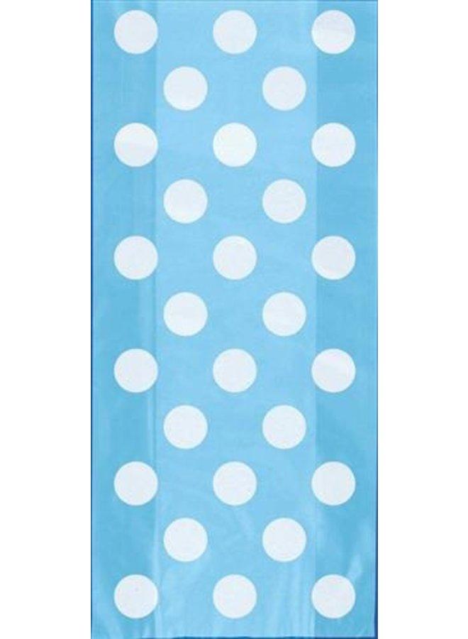Traktatiezakjes blauw met witte stippen 20 x