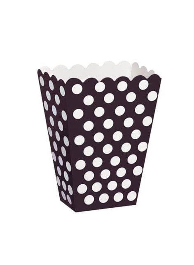 Traktatiebakjes  zwart met witte stippen 8x