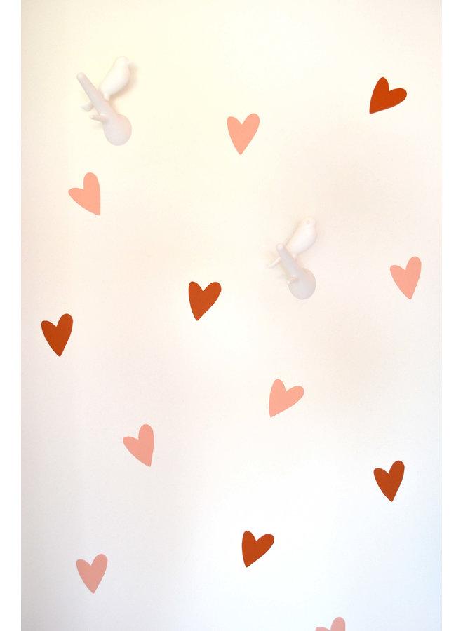 Muursticker hart peach en roest